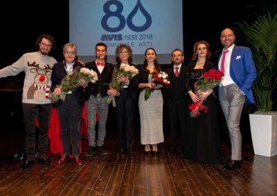 Gli artisti della serata con il presidente Bruna Accornero e l'Amministratore Maria Grazia Prosio
